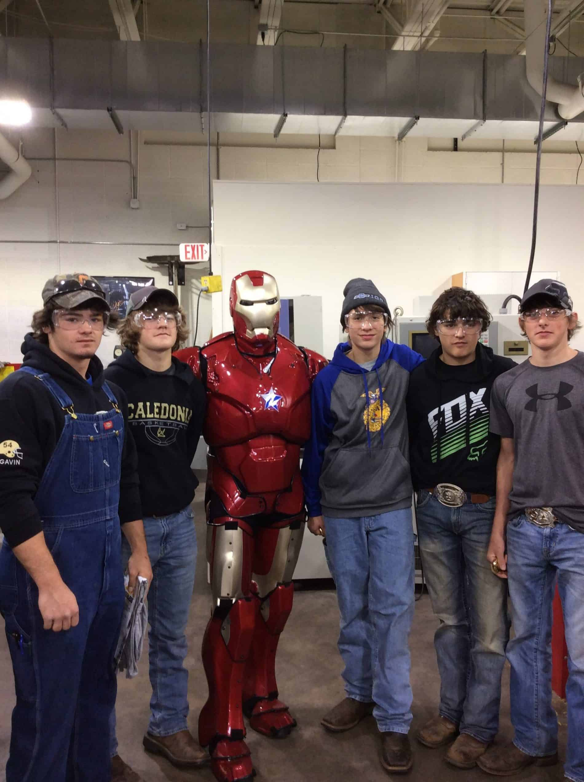 HS Career Expo iron man with students